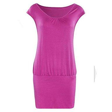 PU&PU Robe Aux femmes Gaine simple,Couleur Pleine Col Arrondi Au dessus du genou Polyester , pink , xl