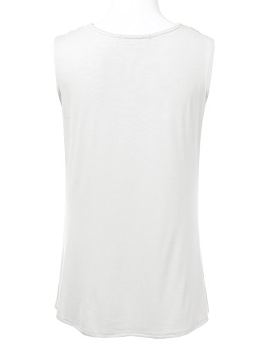 FLORIA Womens Cowl-Neck Ruched Draped Sleeveless Stretchy Blouse Tank Top Ivory M by FLORIA (Image #2)