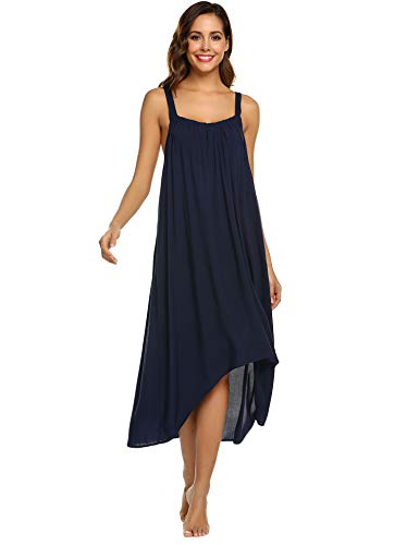 - Ekouaer Women's Cotton V Neck Long Nightgown Camisoles Full Slip Night Dress