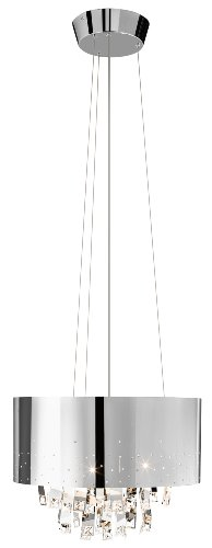 Elan Lighting 83142 Vallo 6LT Pendant, Chrome Finish and Chrome Metal Shade with Hanging Crystal and Chrome Accents
