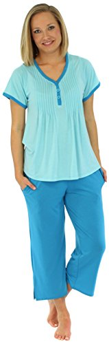PajamaMania Women's Sleepwear Stretchy Knit Short Sleeve V-Neck Top and Capri Pant Pajama Set, Solid Carribean Blue (PMRN1930-2021-SML)