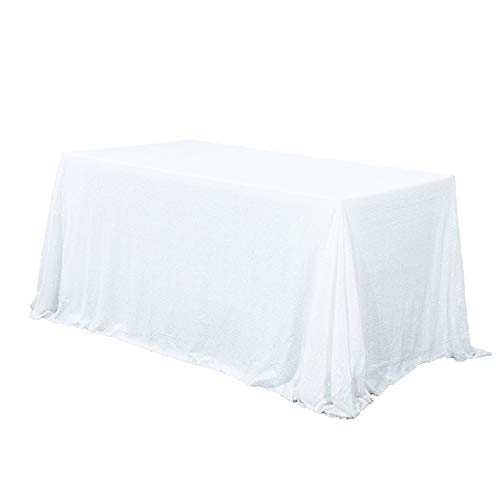 (TRLYC 60 x 120-Inch Rectangular Sequin Tablecloth White )