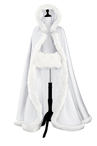 Wedding Cape Hooded Cloak for Bride Winter Reversible with Fur Trim Free Hand Muff Full Length -