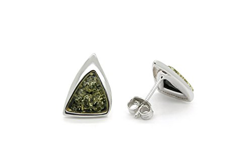 925 Sterling Silver Triangle Stud Amber Earrings with Genuine Natural Baltic Green Amber.