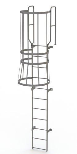 Tri-Arc WLFC1211 11-Rung Walk-Thru Fixed Steel Ladder with Cage