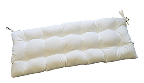 Sunbrella Canvas White Indoor / Outdoor Tufted Cushion wi...