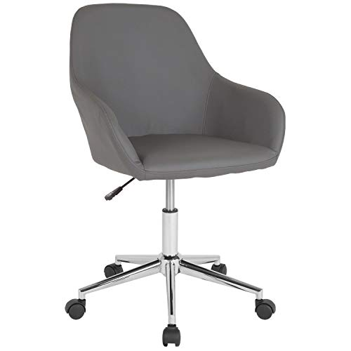 Flash Furniture Cortana Home and Office Mid-Back Chair in Gray Leather (Furniture Office For Office Home)