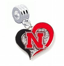 Nebraska Huskers Swirl Heart Charm with Connector - Universal Slide On Charm -