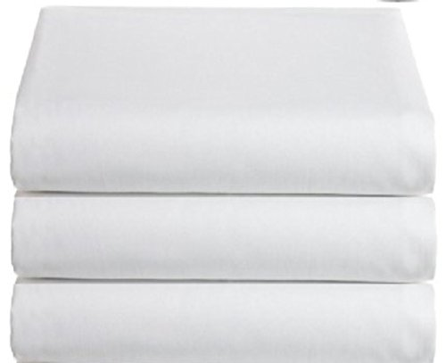 (White Classic Flat Hospital Bed Sheets, Twin Size Flat Sheets, 3-Pack,)