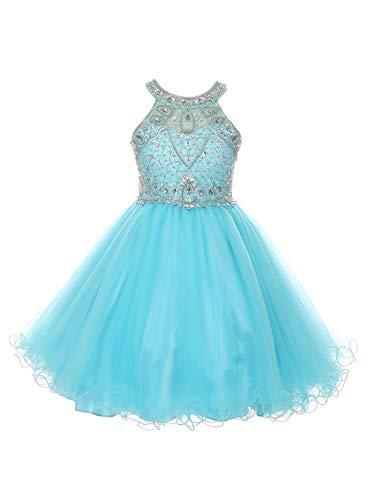 Big Girls Aqua Rhinestone Halter Neck Tulle Junior Bridesmaid Dress - Wedding Couture Allure Dresses