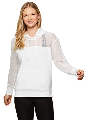 RBX Active Women's Athletic Workout Long Sleeve Pullover Hoodie White Mesh S