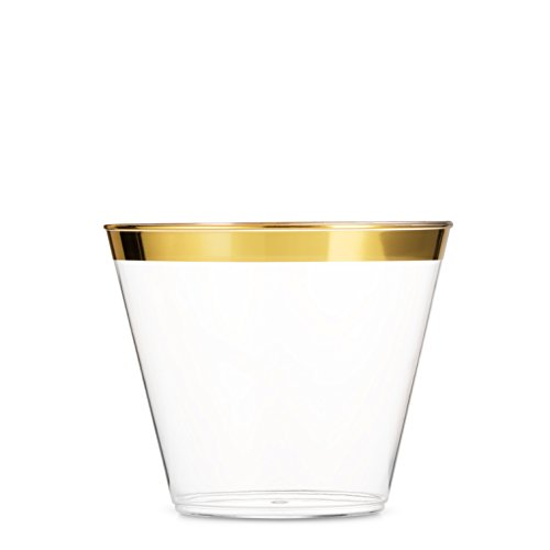 Party Pack Cups - 100 Gold Plastic Cups 9 Oz Clear Plastic Cups Old Fashioned Tumblers Gold Rimmed Cups Fancy Disposable Wedding Cups Elegant Party Cups with Gold Rim