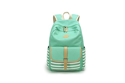 Green Striped Backpack (Girls¡¯ Schoolbag Green Canvas Striped Backpack)