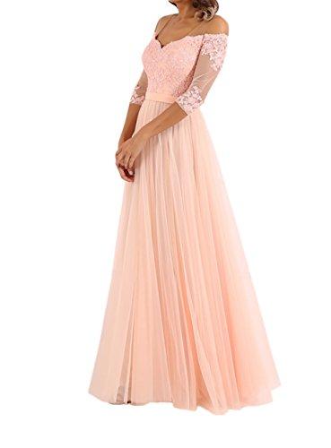Spitze La Lang Langarm Abendkleider Marie Tanzenkleider Ballkleider Braut Brautmutterkleider Rosa qr8Irw