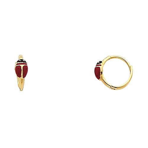 14k Yellow Gold Ladybug Huggie Earrings (10 x 10 mm) (14k Yellow Gold Ladybug)