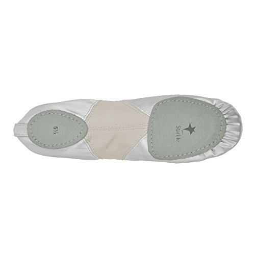 Starlite Flexi Satin Ballet Shoes, Split Sole White