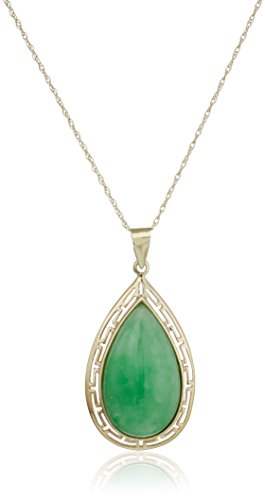 14k Yellow Gold Green Jade Teardrop Greek Key Pendant Necklace
