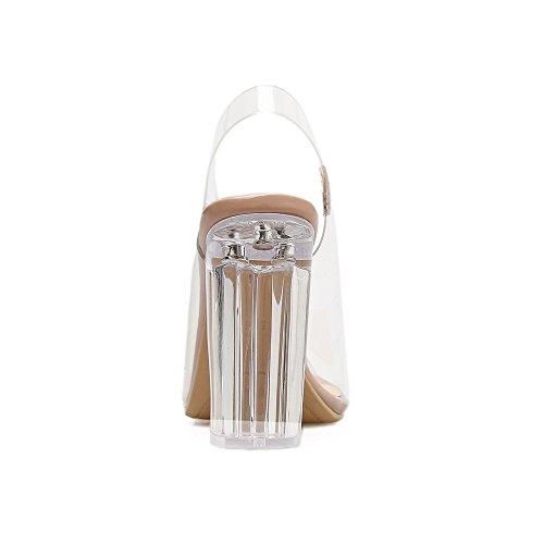 con pescado verano boca alto transparente tacón Las con de de sandalias color sandalias gruesas plana apricot de mujeres desnudas de PU xttzw8qP