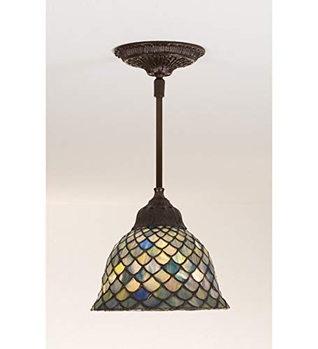 Meyda Tiffany 98823 Tiffany Fishscale Mini Pendant in Mahogany Bronze finish
