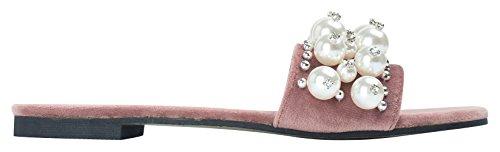 AnnaKastle Womens Faux-Pearl Embellished Slide Sandals Flat Mule Ruddy Pink QgBrJ2SUB