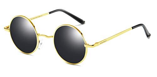 Redondas para Negro lente de UV disponible primavera marco Polarizado Unisex de de de sol 400 mural WHCREAT espejo Retro hombres Gafas Protección bisagra Dorado mujeres aS8HqaEx
