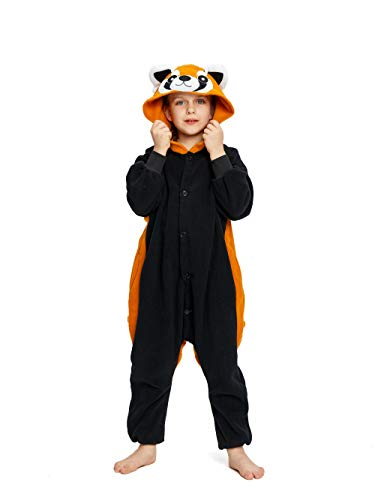 NEWCOSPLAY Unisex Children Animal Pajamas Halloween Costume (115#, Raccoon)]()