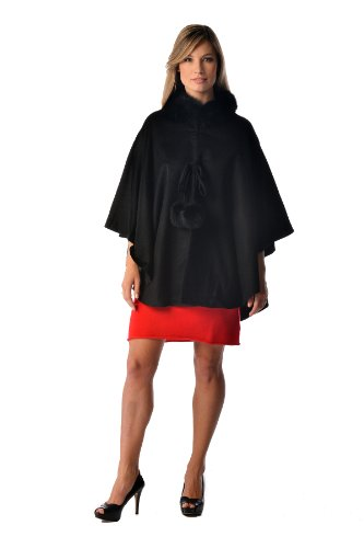 Women's Cashmere Cape with Fox Fur