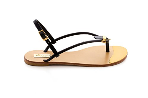 Antonio Raggini Open Toe Sandal with Gold Plated Toe Point Black NYMJDm2