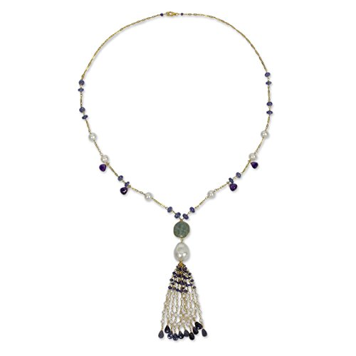 NOVICA Multi-Gem Cultured Freshwater Pearl 24k Gold Plated Sterling Silver Necklace, 'Siam Sonnet'