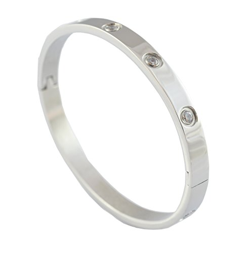 Classic Stainless Steel Crystal/Cubic Zirconia Stone Hinged Bangle Bracelet Unisex/Women (Silver)