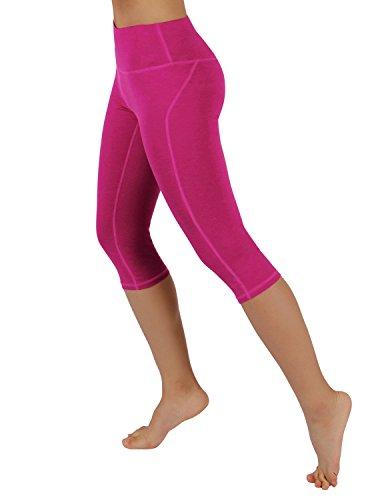 ODODOS Power Flex Yoga Capris Tummy Control Workout Non See-Through Pants with Pocket,Fuchsia,Small