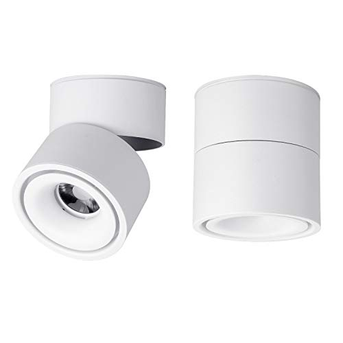 LED Spotlight Wall Light - 360°Adjustable Ceiling Downlight COB Lighting LED Wall Lamp or Spot Light Cool White 6000K / Warm White 3000K (White, 3000K(Warm Light))