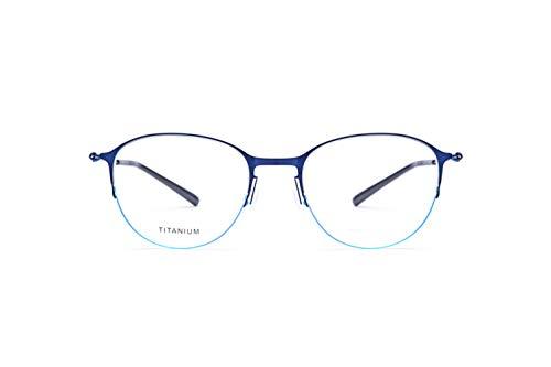 - Ultralight Business Pure Titanium Round Half Frame Glasses Frames Unisex No Screw Gold Wire Glasses,Blue-M