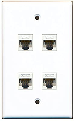 RiteAV - 4 Port Cat5e Female-Female Wall Plate White