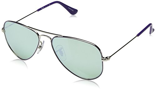 Ray-Ban Kids' 0rj9506s262/3052junior Non-Polarized Iridium Aviator Sunglasses, Silver Top on Violet, 52 - Ray Violet Ban