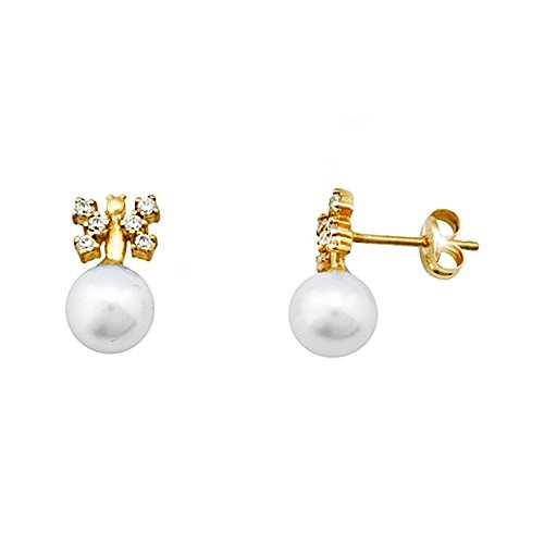 Boucled'oreille 18k 6.5mm or zircons perle de culture de papillon [AA5412]