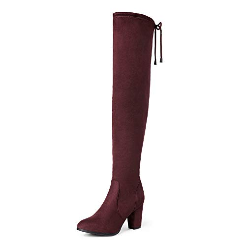 DREAM PAIRS Women's Thigh High Fashion Boots Over The Knee Block Mid Heel Boots