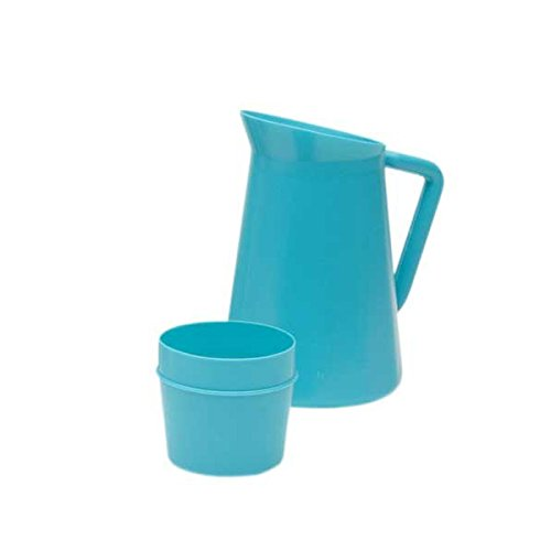 Medegen Medical Products 18110 Pitchers with 9 fl. oz. Cup Covers, Serializable, 1 Quart Capacity, Seafoam (Pack of 12)
