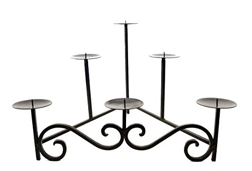 Laredo Scroll Wrought Iron Hearth Candleholder-15 Inches Tall x 22.5 Inches Wide. Depth is 17 5/8 Inches. Candle Plates are 4 Inches in Diameter. Handmade and Painted Bronze.