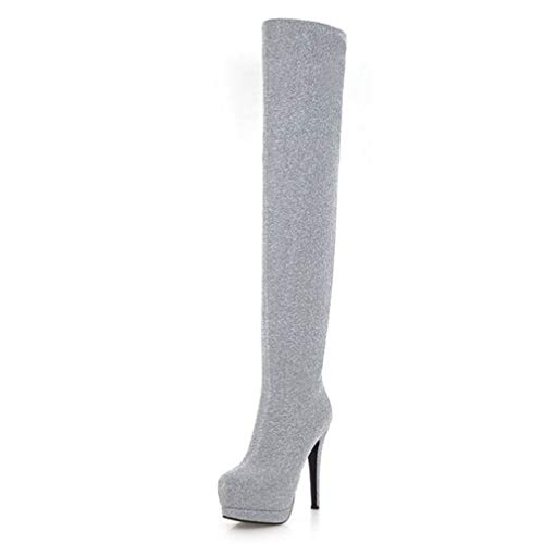 (T-JULY Women's Over The Knee High Boots Platform Thin High Heel Winter)