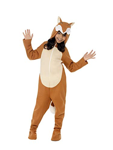 Smiffys Children's Unisex All In One Fox Costume, Jumpsuit with Tail and Ears, Party Animals, Ages 4-6, Size: Small, Color: Brown, 44074 -