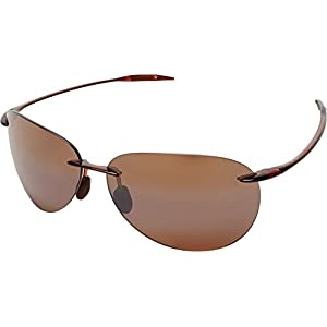Maui Jim Sugar Beach Rimless Rectangular Polarized Sunglasses,Rootbeer Frame/HCL Bronze Lens,one size