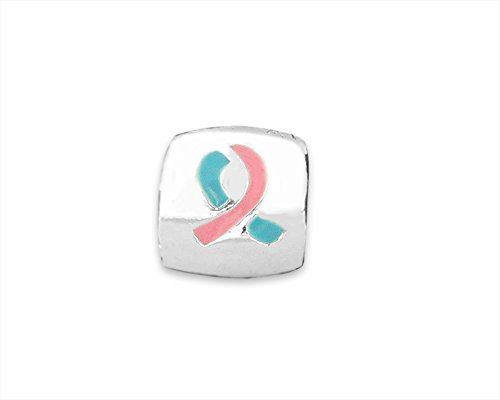 Pink & Blue Awareness Ribbon Charm (Retail) Blue Awareness Ribbon Charm