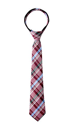 Spring Notion Boy's Tartan Plaid Woven Zipper Tie Burgundy Large