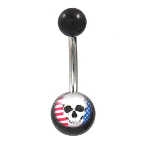 (American Flag & Skull Logo Black Acrylic Balls Belly Ring (Non-Dangle))