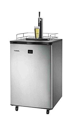 Versonel VSL155TDSS Freestanding Full Keg Kegerator Beer Fridge Dispenser LCD Temp, Black/Stainless Steel
