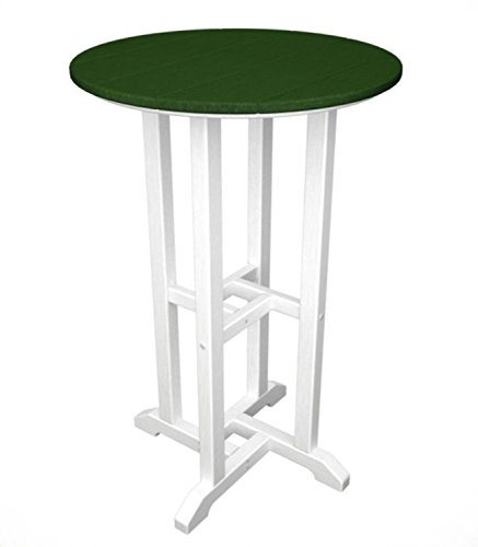 Recycled Earth-Friendly Outdoor Patio Bistro Counter Table -White & Forest Green