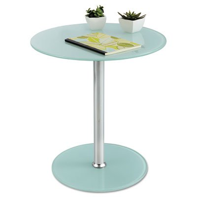 Glass Accent Table, Tempered Glass/Steel, 17'' Dia. x 19'' High, White/Silver, Sold as 1 Each by Generic