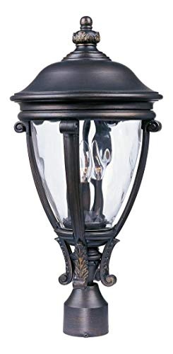 - Three Light Golden Bronze Water Glass Glass Post Light