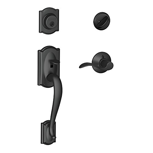 Camelot Single Cylinder Handleset and Right Hand Accent Lever, Matte Black (F60 CAM 622 ACC RH)